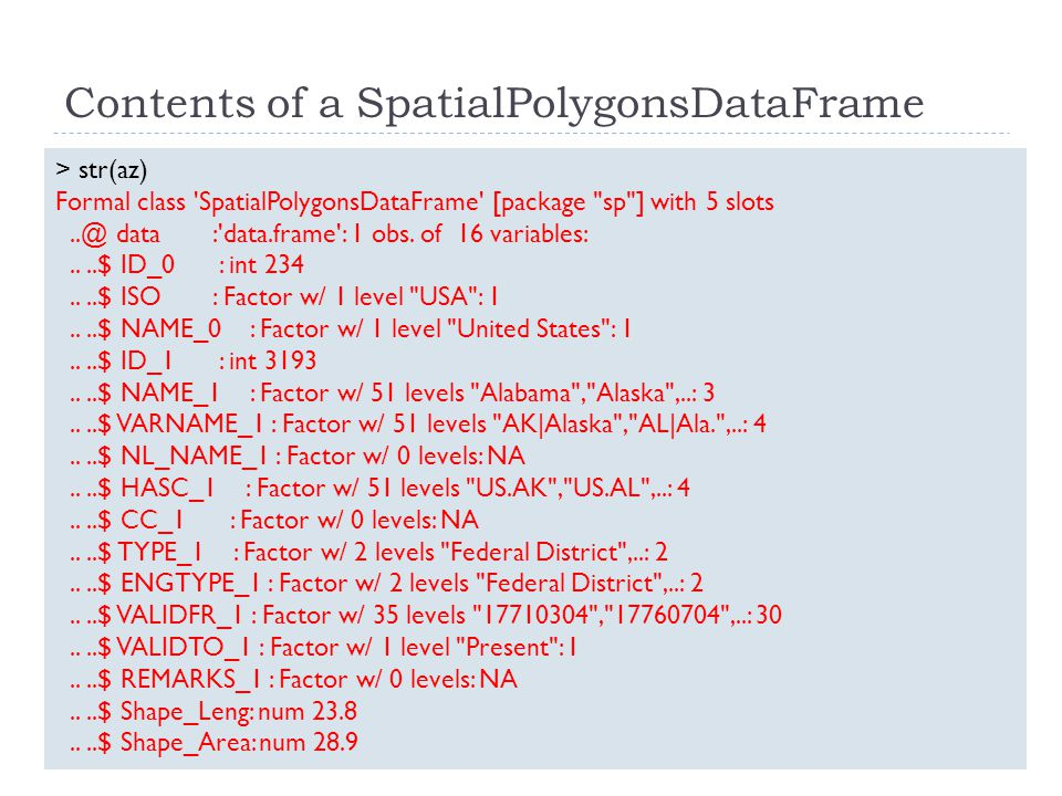 Contents of a SpatialPolygonsDataFrame > str(az) Formal class SpatialPolygonsDataFrame [package sp ] with 5 slots..@ data : data.frame : 1 obs.