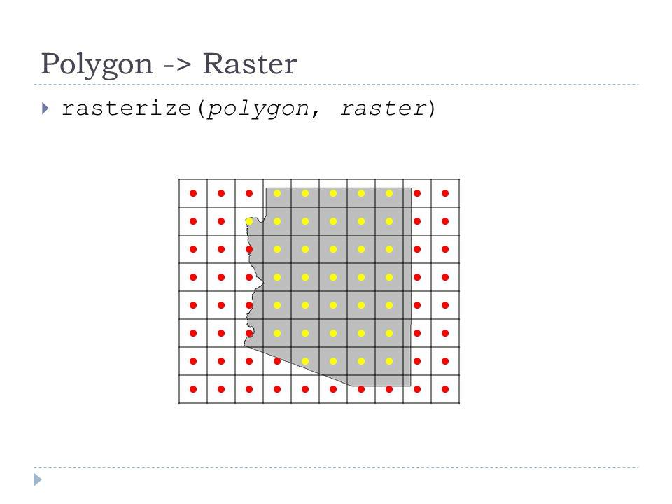 Polygon -> Raster  rasterize(polygon, raster)