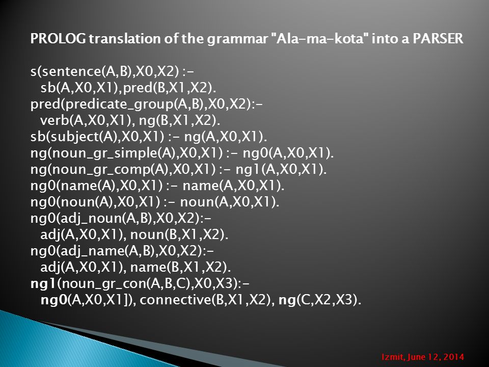 PROLOG translation of the grammar Ala-ma-kota into a PARSER s(sentence(A,B),X0,X2) :- sb(A,X0,X1),pred(B,X1,X2).