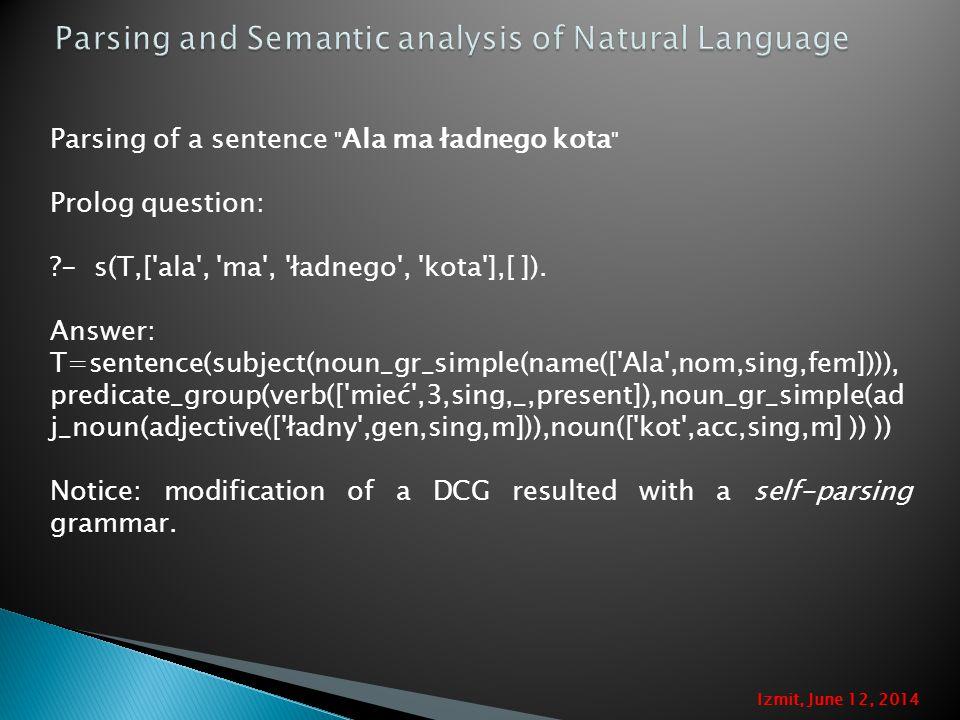 Parsing of a sentence Ala ma ładnego kota Prolog question: - s(T,[ ala , ma , ładnego , kota ],[ ]).
