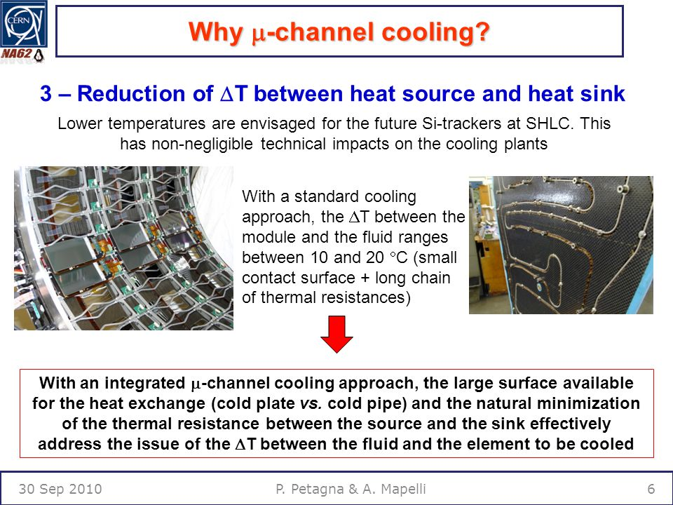Why  -channel cooling. 30 Sep 20106P. Petagna & A.
