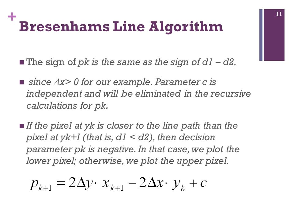 + Bresenhams Line Algorithm The sign of pk is the same as the sign of d1 – d2, since Δ x> 0 for our example.
