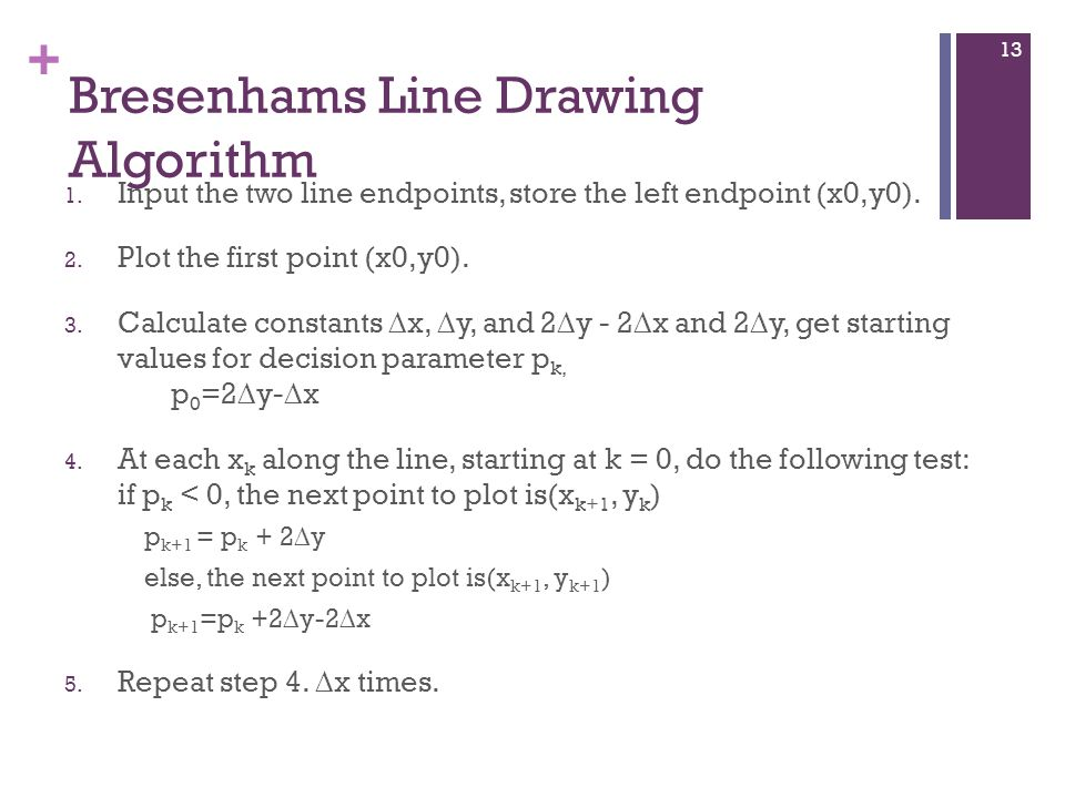 + Bresenhams Line Drawing Algorithm 1.