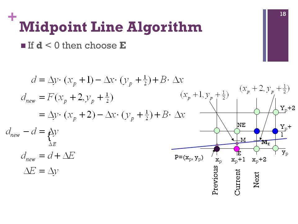 + Midpoint Line Algorithm If d < 0 then choose E P=(x p, y p ) M E NE x p +1xpxp x p +2 Previous Current Next ypyp Yp+1Yp+1 Y p +2 MEME 18