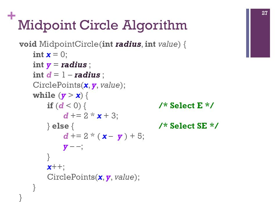 + Midpoint Circle Algorithm void MidpointCircle(int radius, int value) { int x = 0; int y = radius ; int d = 1 – radius ; CirclePoints(x, y, value); w