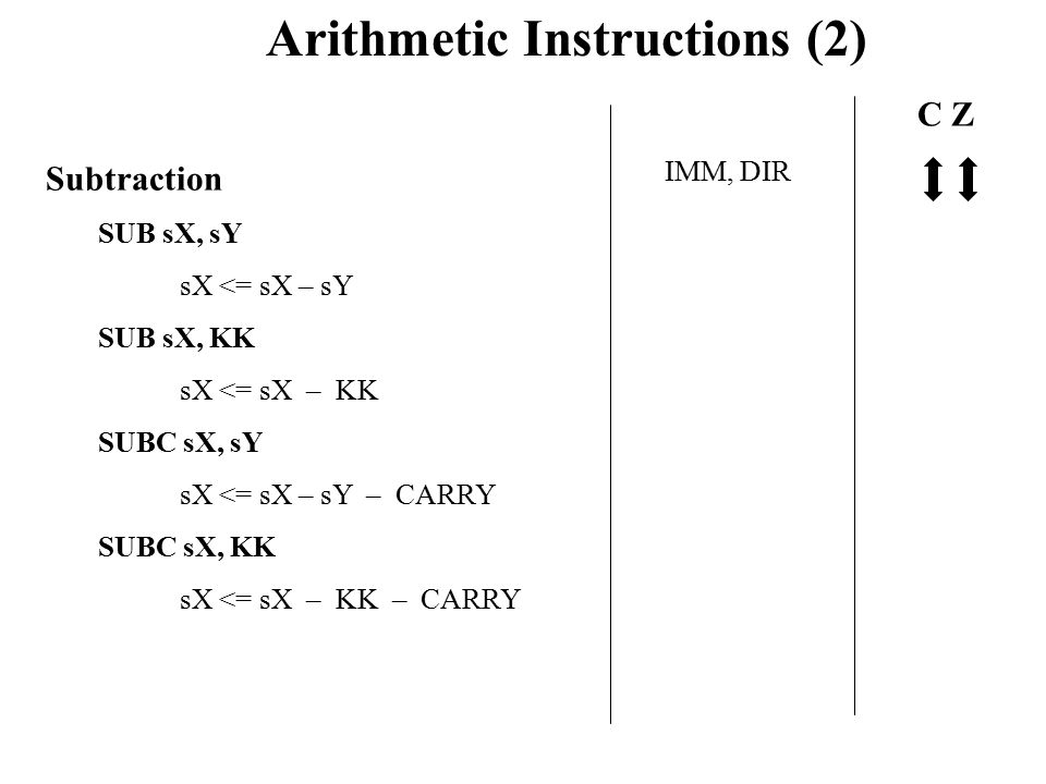 Arithmetic Instructions (2) Subtraction SUB sX, sY sX <= sX – sY SUB sX, KK sX <= sX – KK SUBC sX, sY sX <= sX – sY – CARRY SUBC sX, KK sX <= sX – KK