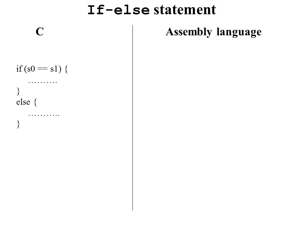 If-else statement CAssembly language if (s0 == s1) { ………. } else { ……….. }