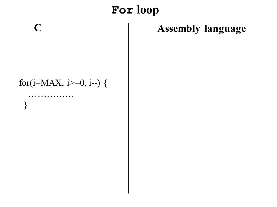 For loop C Assembly language for(i=MAX, i>=0, i--) { …………… }