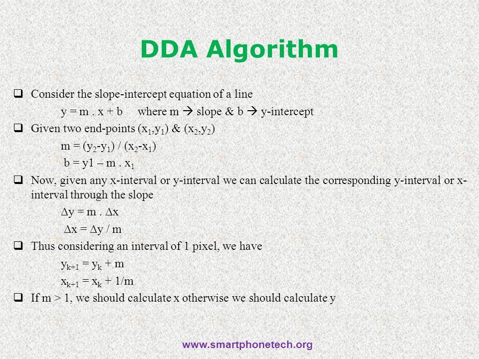 DDA Algorithm  Consider the slope-intercept equation of a line y = m.