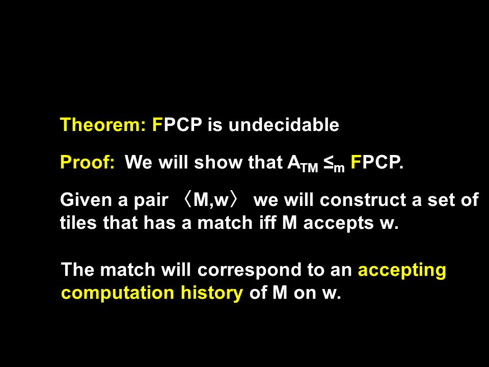 Theorem: FPCP is undecidable Proof:We will show that A TM ≤ m FPCP.