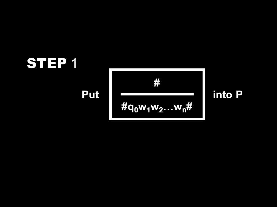 STEP 1 Put # #q 0 w 1 w 2 …w n # into P