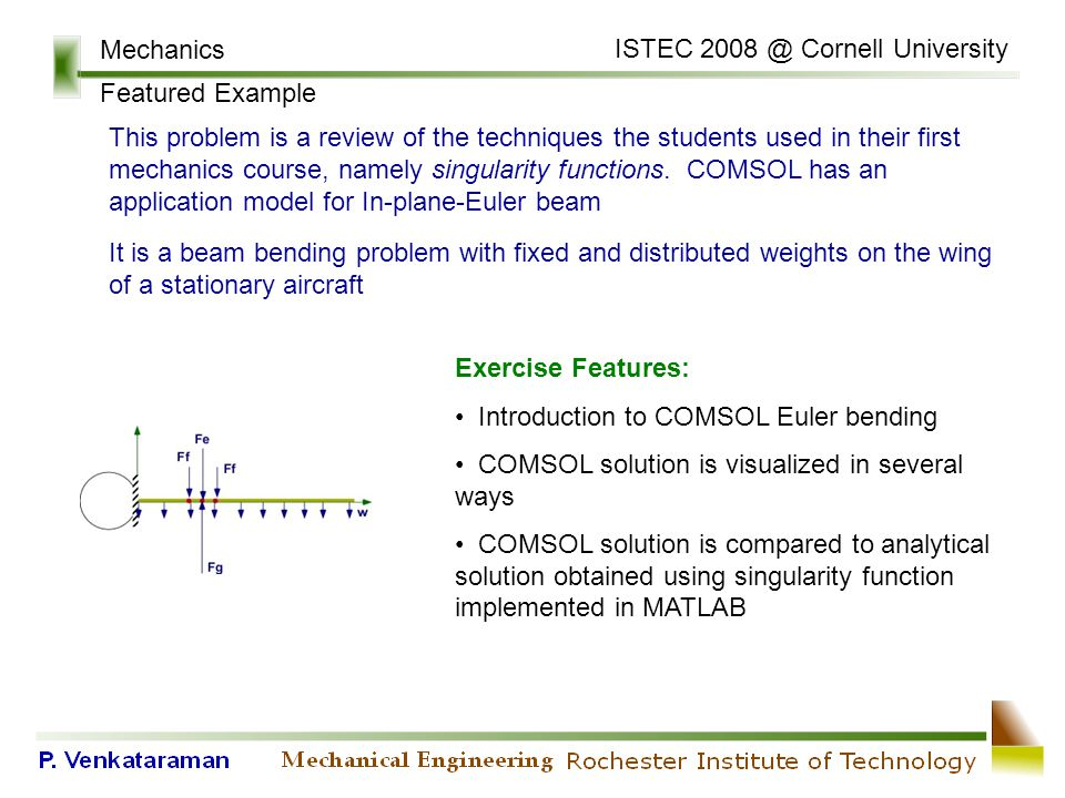 Mechanics Featured Example ISTEC 2008 @ Cornell University This problem is a review of the techniques the students used in their first mechanics course, namely singularity functions.