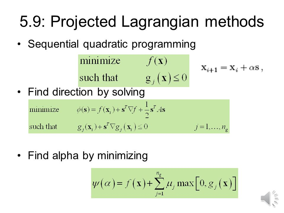 Can estimate Lagrange multipliers Stationarity Without penalty So: Iterate See example in textbook
