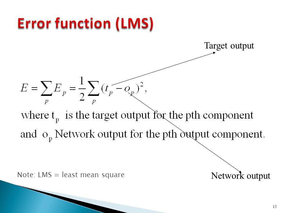 15 Target output Network output Note: LMS = least mean square