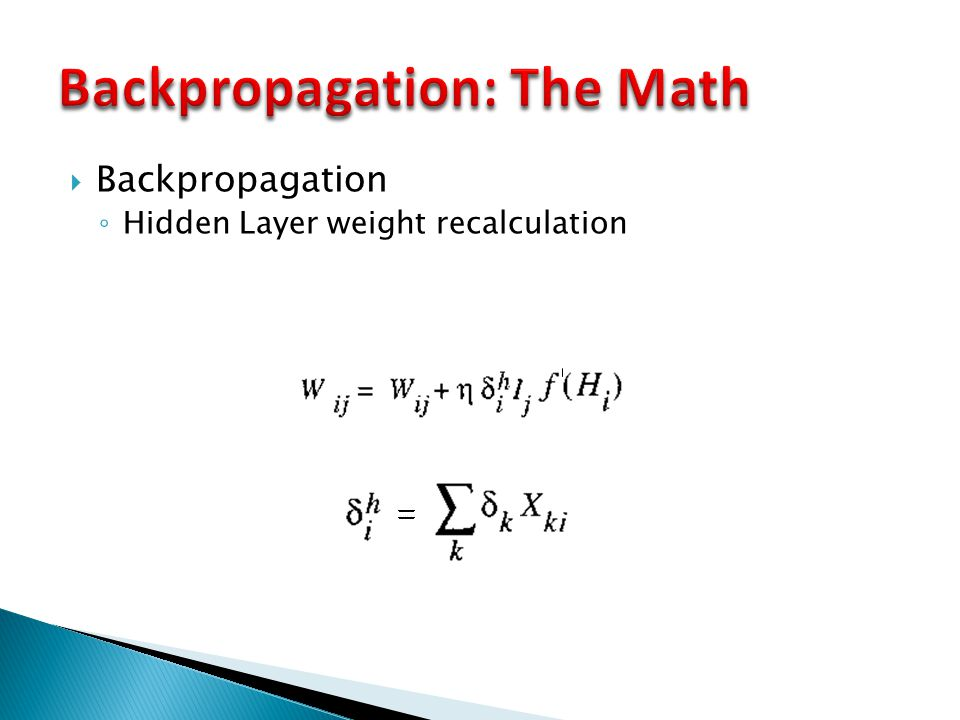  Backpropagation ◦ Hidden Layer weight recalculation