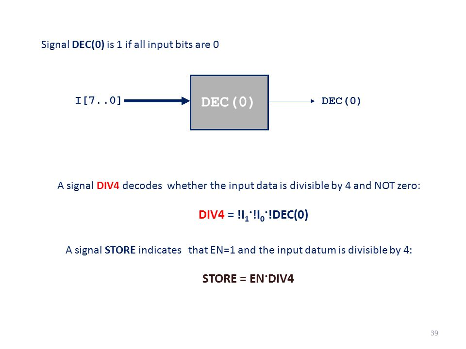 Signal DEC(0) is 1 if all input bits are 0 A signal DIV4 decodes whether the input data is divisible by 4 and NOT zero: DIV4 = !I 1 ·!I 0 ·!DEC(0) A s