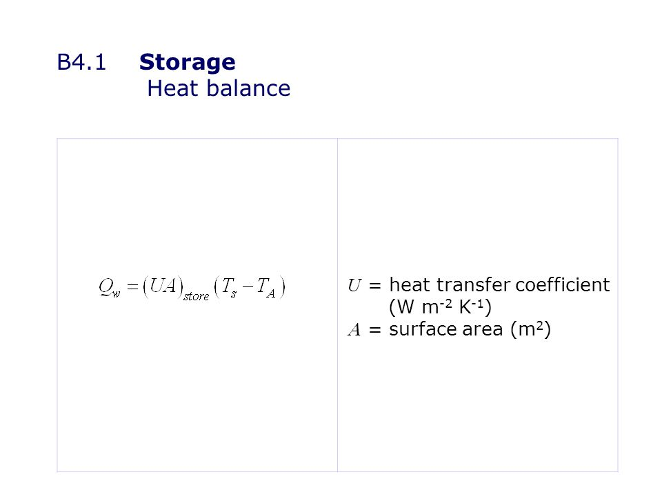 B4.1Storage Heat balance U = heat transfer coefficient (W m -2 K -1 ) = surface area (m 2 )