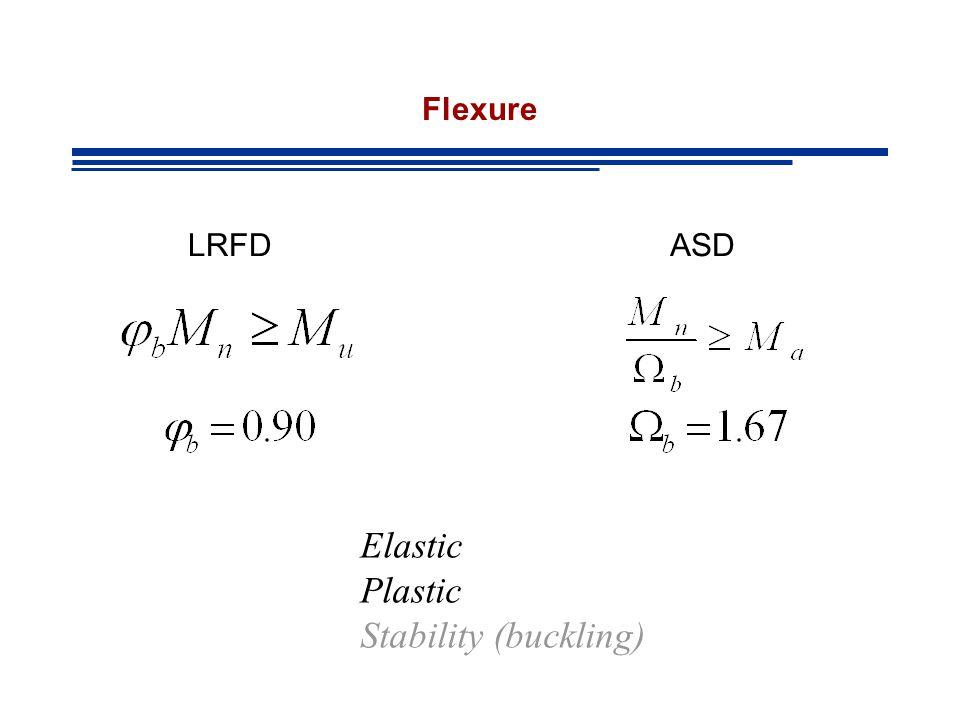 Flexure Elastic Plastic Stability (buckling) LRFDASD