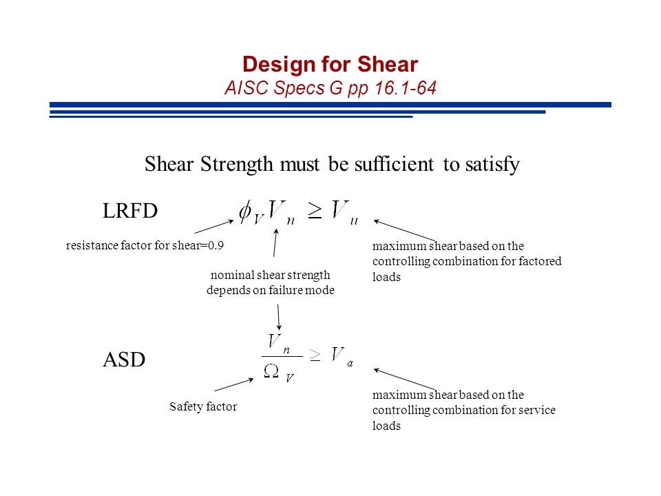 Design for Shear AISC Specs G pp 16.1-64 Shear Strength must be sufficient to satisfy resistance factor for shear=0.9 nominal shear strength depends o