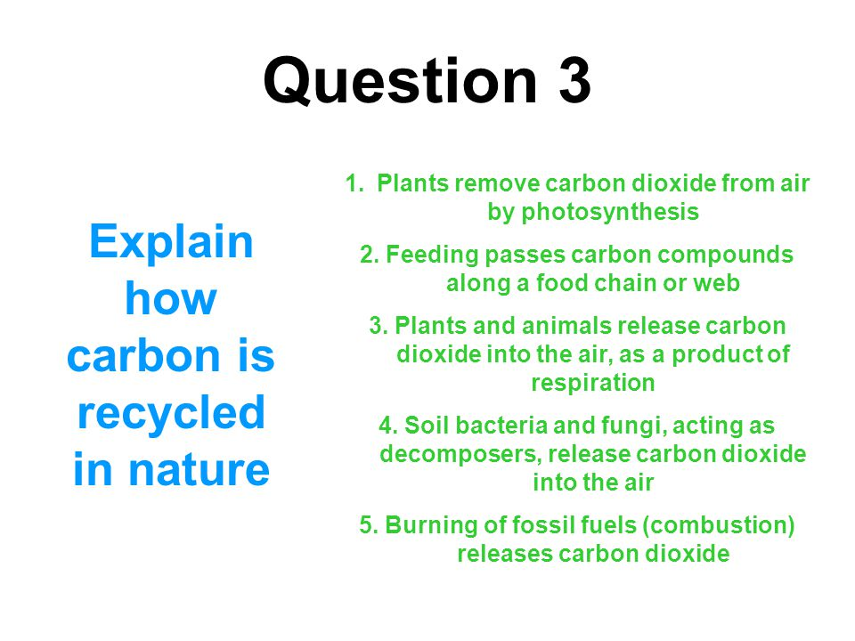 Question 3 Explain how carbon is recycled in nature 1.Plants remove carbon dioxide from air by photosynthesis 2. Feeding passes carbon compounds along
