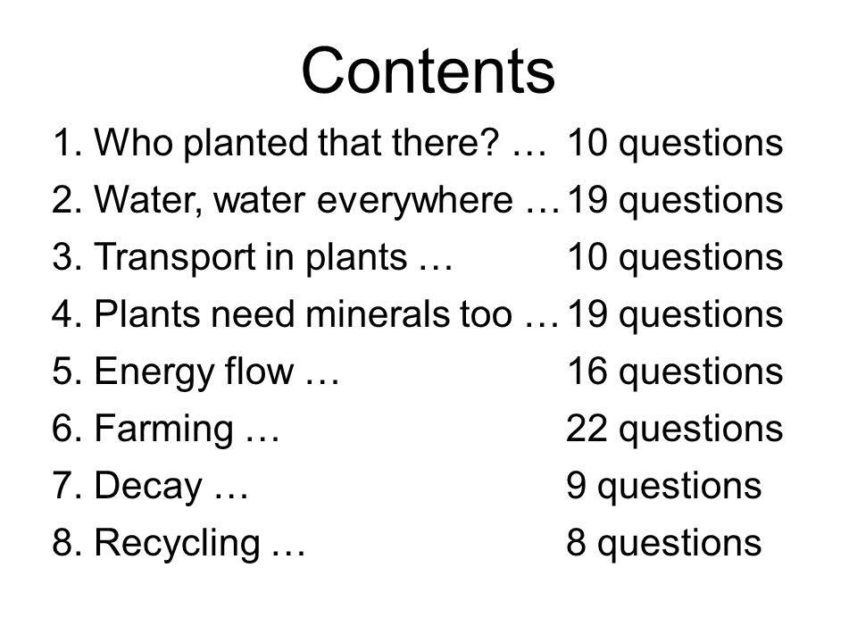 Who Planted That There? Chapter 1 10 Questions Back to contents page