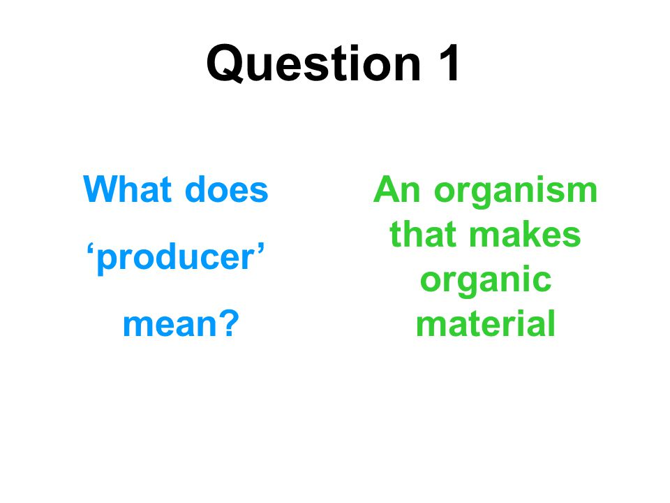 Question 1 What does 'producer' mean? An organism that makes organic material