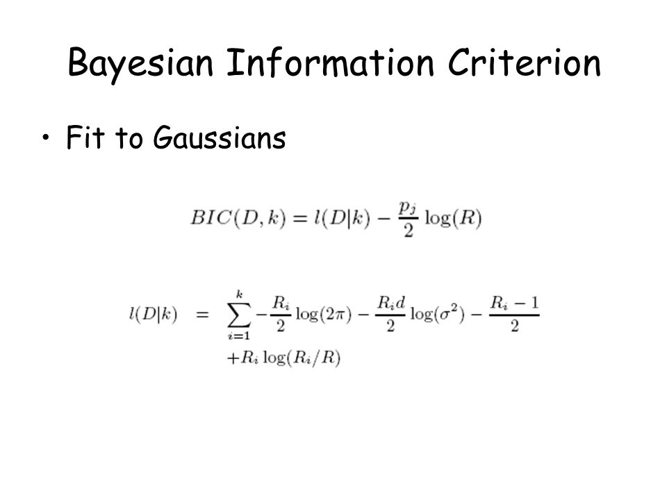 Bayesian Information Criterion Fit to Gaussians