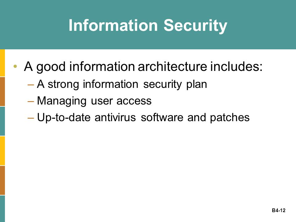 B4-12 Information Security A good information architecture includes: –A strong information security plan –Managing user access –Up-to-date antivirus s