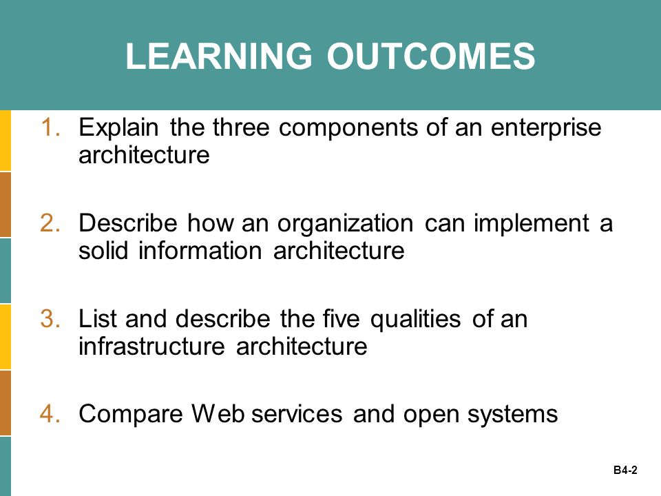 B4-3 ENTERPRISE ARCHITECTURES Enterprise architecture - includes the plans for how an organization will build, deploy, use, and share its data, processes, and IT assets Enterprise architect (EA) - a person grounded in technology, fluent in business, a patient diplomat, and provides the important bridge between IT and the business