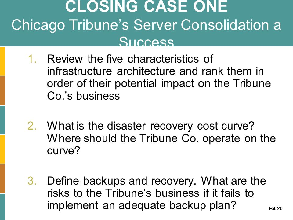 B4-20 CLOSING CASE ONE Chicago Tribune's Server Consolidation a Success 1.Review the five characteristics of infrastructure architecture and rank them