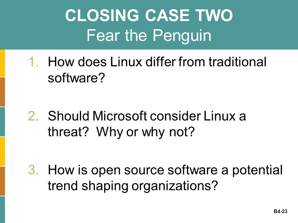 B4-23 CLOSING CASE TWO Fear the Penguin 1.How does Linux differ from traditional software? 2.Should Microsoft consider Linux a threat? Why or why not?