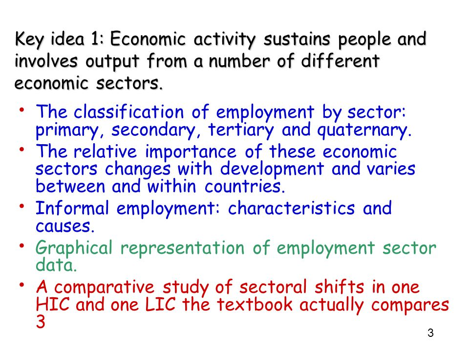 3 Key idea 1: Economic activity sustains people and involves output from a number of different economic sectors. The classification of employment by s