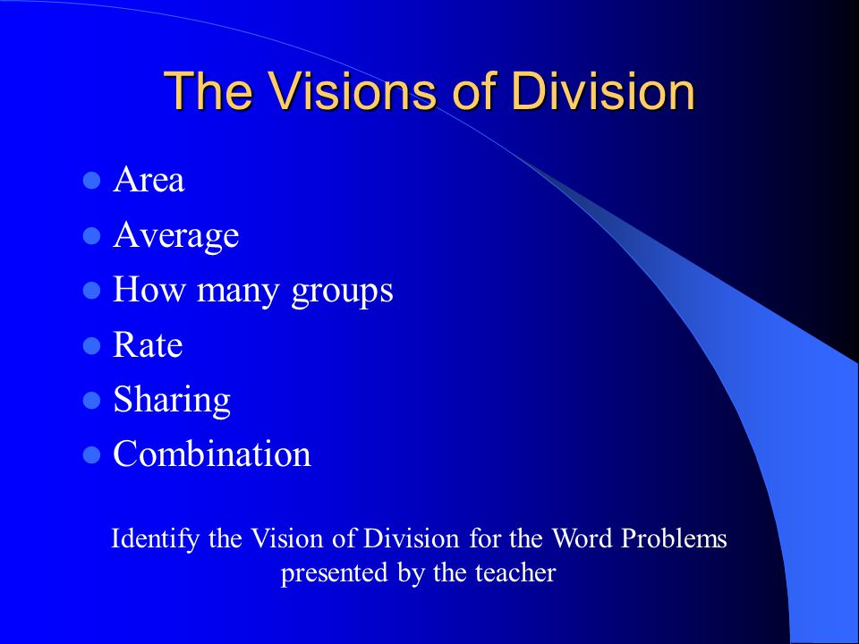 The Visions of Division Area Average How many groups Rate Sharing Combination Identify the Vision of Division for the Word Problems presented by the teacher
