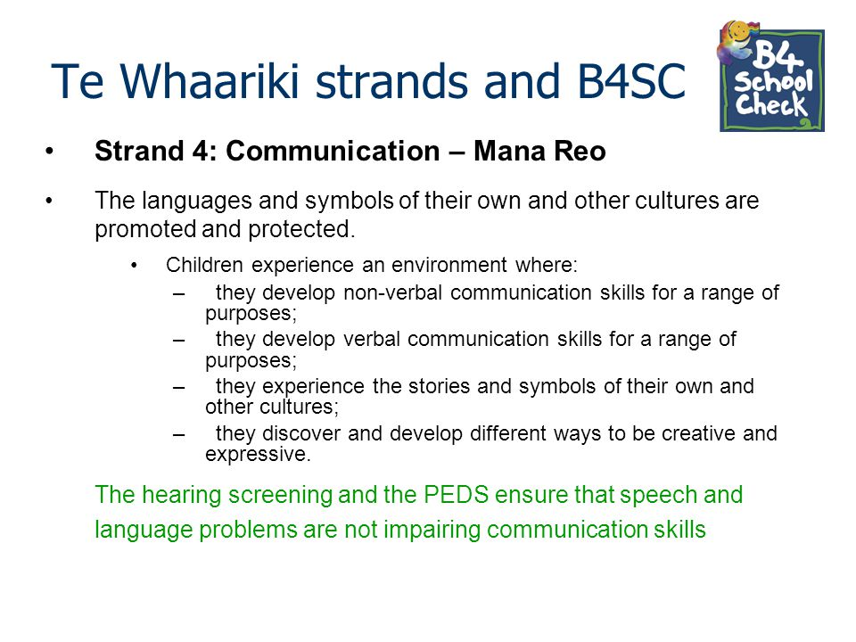 Te Whaariki strands and B4SC Strand 4: Communication – Mana Reo The languages and symbols of their own and other cultures are promoted and protected.