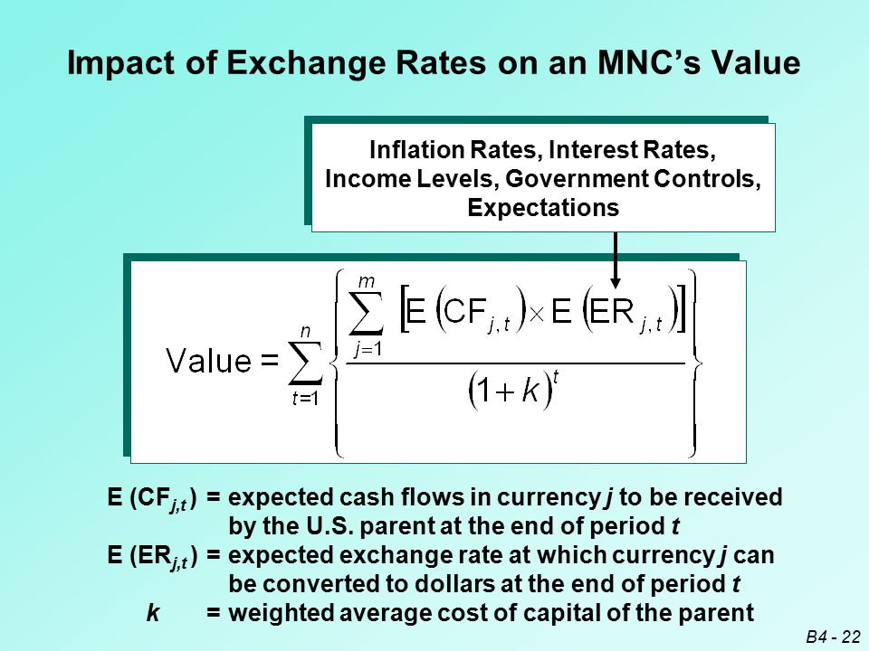 B4 - 22 Impact of Exchange Rates on an MNC's Value E (CF j,t )=expected cash flows in currency j to be received by the U.S. parent at the end of perio