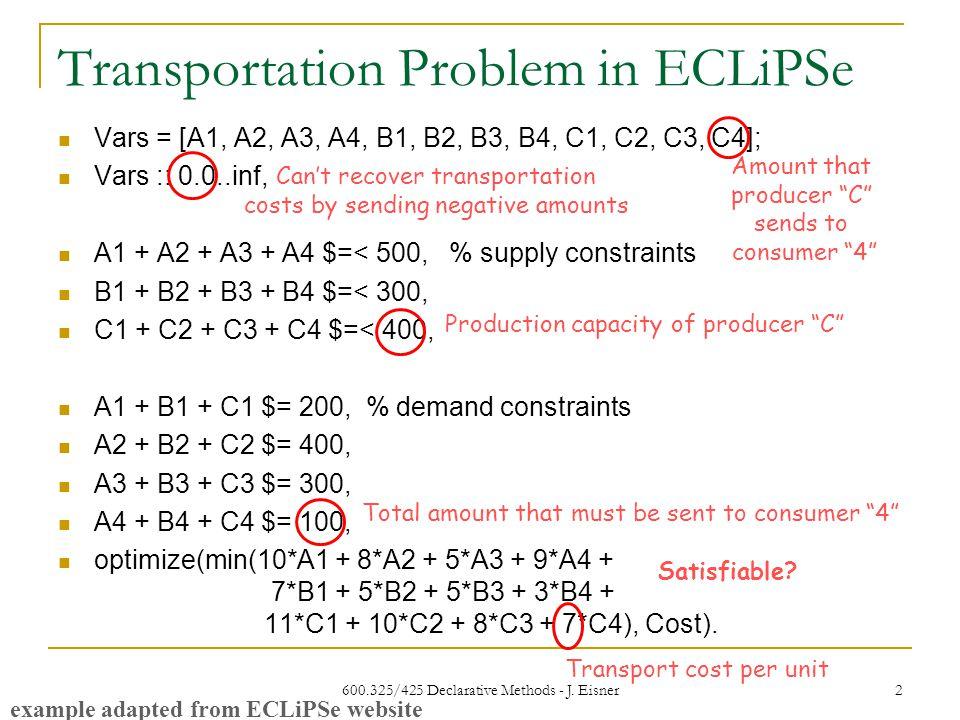 Transportation Problem in ECLiPSe 600.325/425 Declarative Methods - J.
