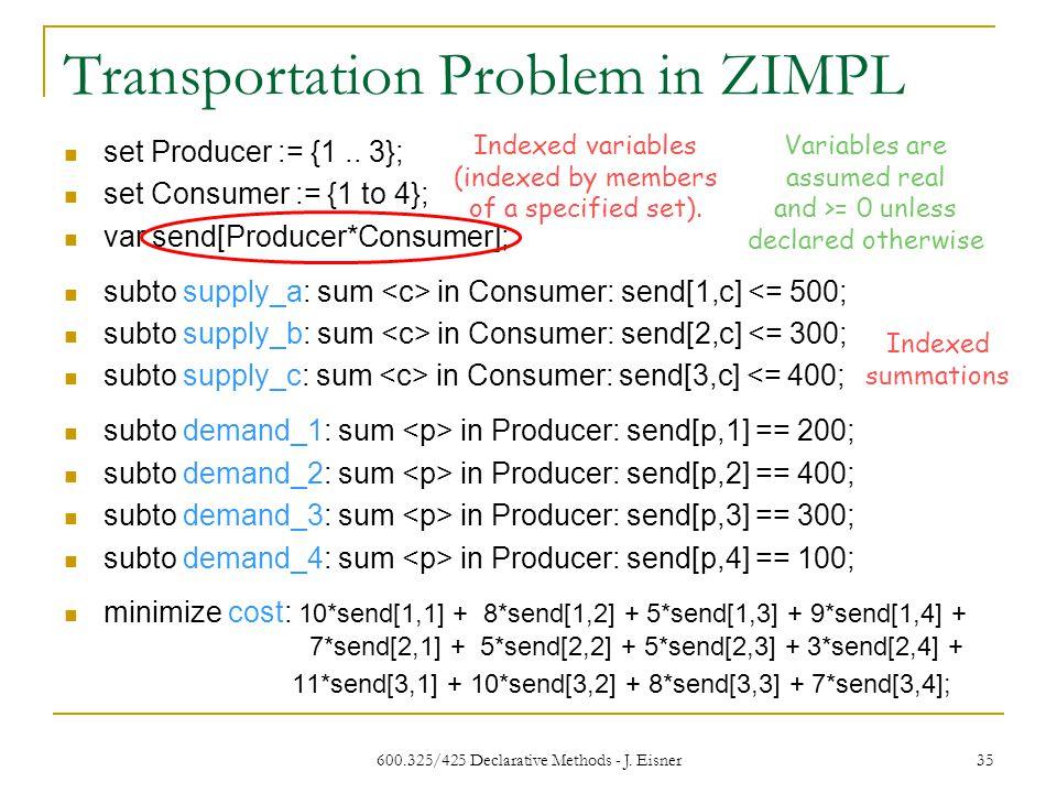 Transportation Problem in ZIMPL 600.325/425 Declarative Methods - J. Eisner 35 set Producer := {1.. 3}; set Consumer := {1 to 4}; var send[Producer*Co