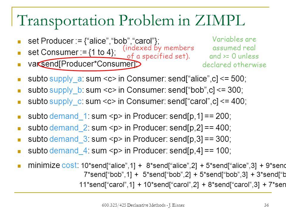 Transportation Problem in ZIMPL 600.325/425 Declarative Methods - J.