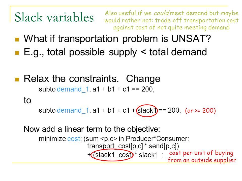 Slack variables What if transportation problem is UNSAT.
