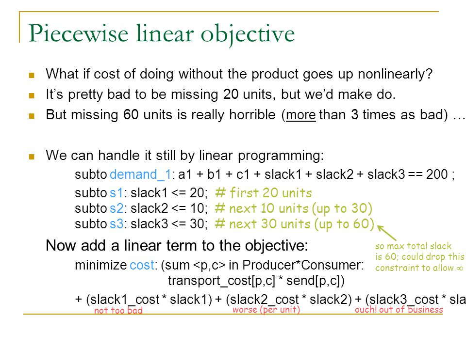 Piecewise linear objective What if cost of doing without the product goes up nonlinearly.