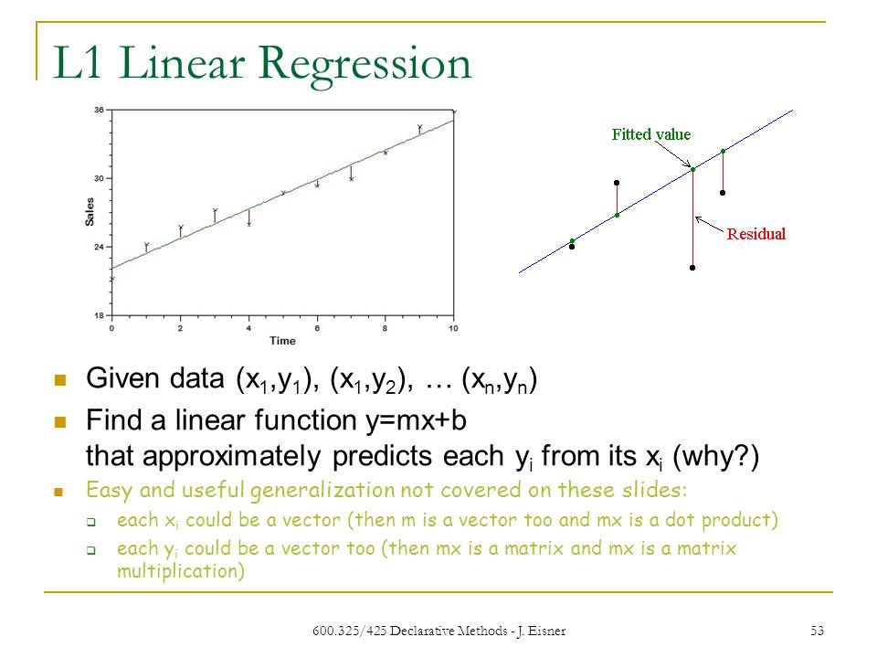 L1 Linear Regression 600.325/425 Declarative Methods - J.