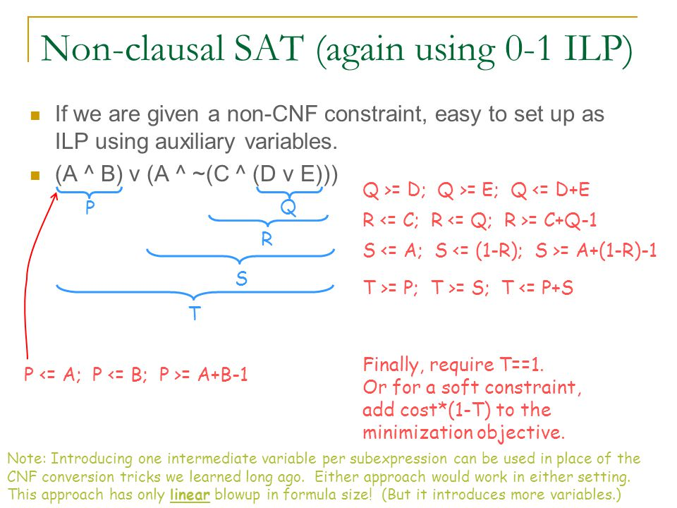 600.325/425 Declarative Methods - J. Eisner 58 Non-clausal SAT (again using 0-1 ILP) If we are given a non-CNF constraint, easy to set up as ILP using
