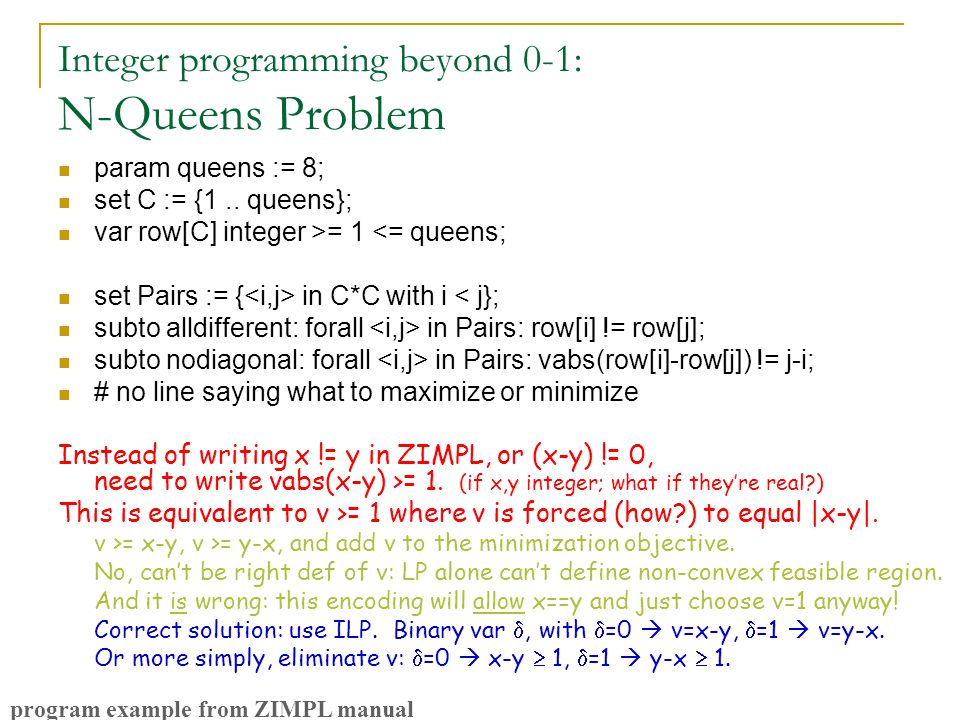 Integer programming beyond 0-1: N-Queens Problem param queens := 8; set C := {1..