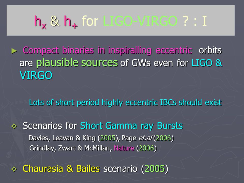 h x & h + h x & h + for LIGO-VIRGO .
