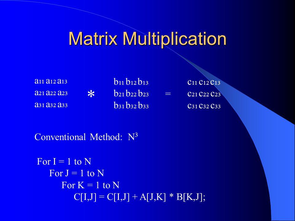 Matrix Multiplication a 11 a 12 a 13 a 21 a 22 a 23 a 31 a 32 a 33 * b 11 b 12 b 13 b 21 b 22 b 23 b 31 b 32 b 33 = c 11 c 12 c 13 c 21 c 22 c 23 c 31