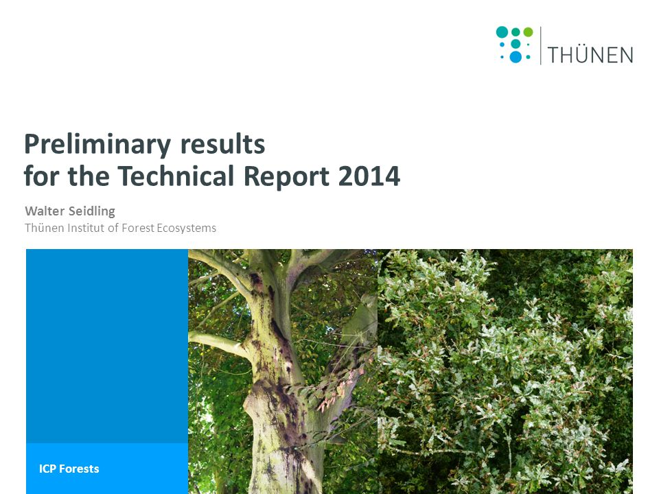 Name des Wissenschaftlers Walter Seidling Thünen Institut of Forest Ecosystems ICP Forests Preliminary results for the Technical Report 2014