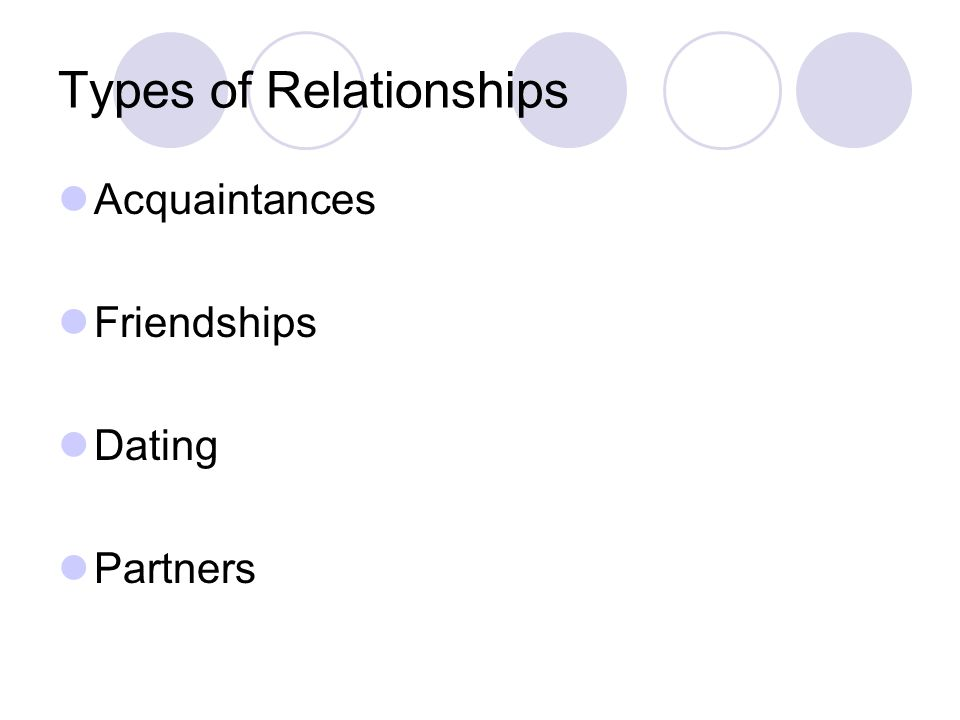Types of Relationships Acquaintances Friendships Dating Partners
