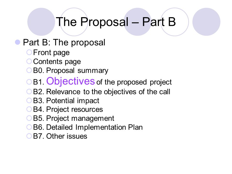 The Proposal – Part B Part B: The proposal  Front page  Contents page  B0.