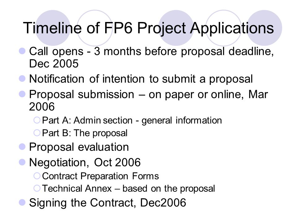 Timeline of FP6 Project Applications Call opens - 3 months before proposal deadline, Dec 2005 Notification of intention to submit a proposal Proposal submission – on paper or online, Mar 2006  Part A: Admin section - general information  Part B: The proposal Proposal evaluation Negotiation, Oct 2006  Contract Preparation Forms  Technical Annex – based on the proposal Signing the Contract, Dec2006
