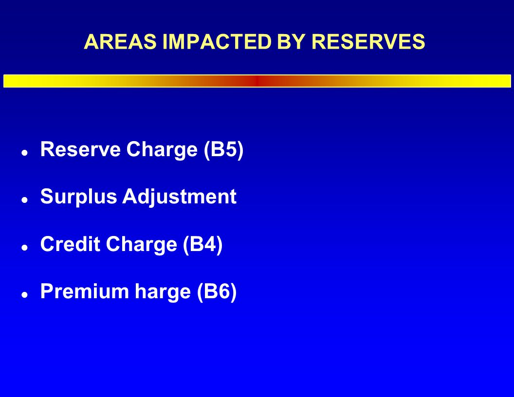 AREAS IMPACTED BY RESERVES l Reserve Charge (B5) l Surplus Adjustment l Credit Charge (B4) l Premium harge (B6)